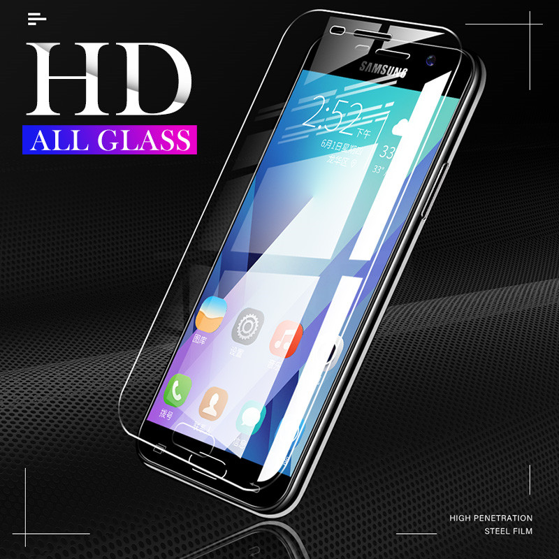 ZNP 2Pcs Protective Tempered Glass For Samsung A3 A5 A7 2017 Full Screen Potector Film For Galaxy A6 A8 Plus 2018 A5 Glass Film