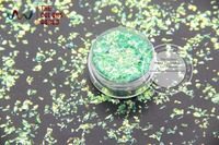 TCR333 American Fantasy Iridescent Light Green Colors Random Cut Glitter Spangles Mylar For Nail Art And