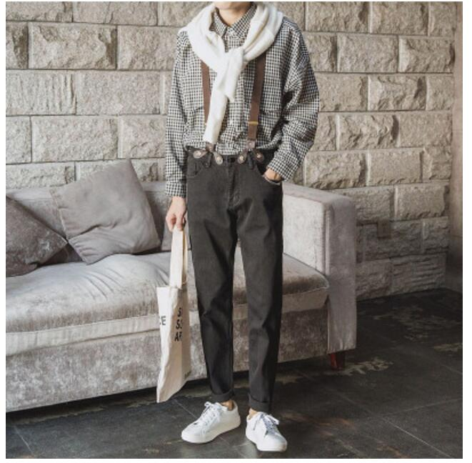 Mens summer Solid Loose Hairstylist High Waisted Straight casual Pants