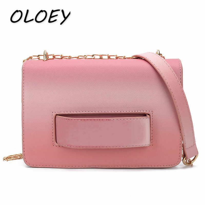 Женская сумка-мессенджер из искусственной кожи градиентного цвета с роскошными буквами, Женская цепочка для отдыха, маленькая квадратная сумка через плечо, шикарные кошельки