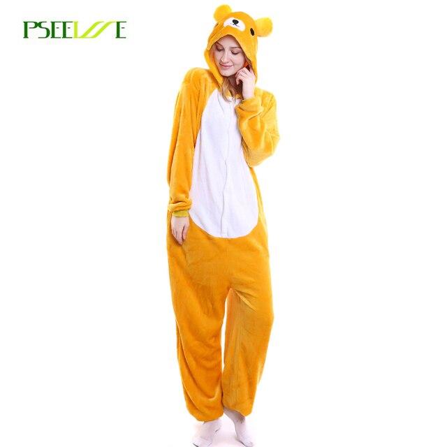 Унисекс для взрослых фланелевые пижамы взрослых Косплэй Носки с рисунком  медведя из мультика животного Комбинезоны Пижама 1ca812a950215
