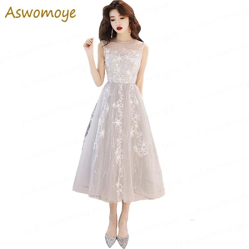 Evening Dress 2019 New Banquet Noble Elegant Prom Party Dresses Illusion O-neck A Line Tea Length Formal Dress Robe De Soire