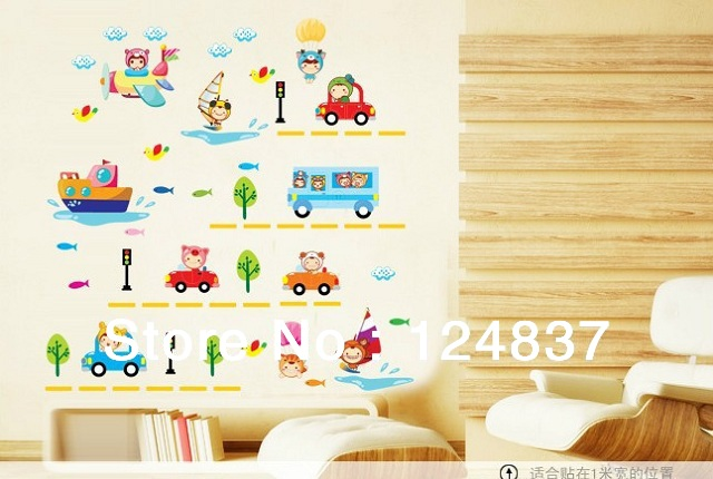 Promotion Cheap Cars Wall Sticker Cartoon Kids Bedroom Decals House Decoration Transparent Pvc
