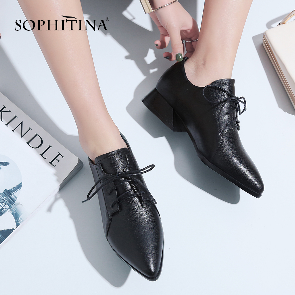 SOPHITINA Autumn Classics Women s Pumps Cow Leather Med Square Heel Lace Up Fashion Pointed Toe
