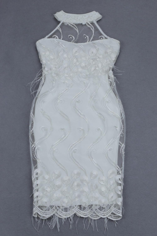 2018 Lusso Progettista Della Che Modo Vestido Di Piuma Borda Backless Bianco Fasciatura Dalla Celebrità Del Woemn Sexy Halter Vestito fRwxOO