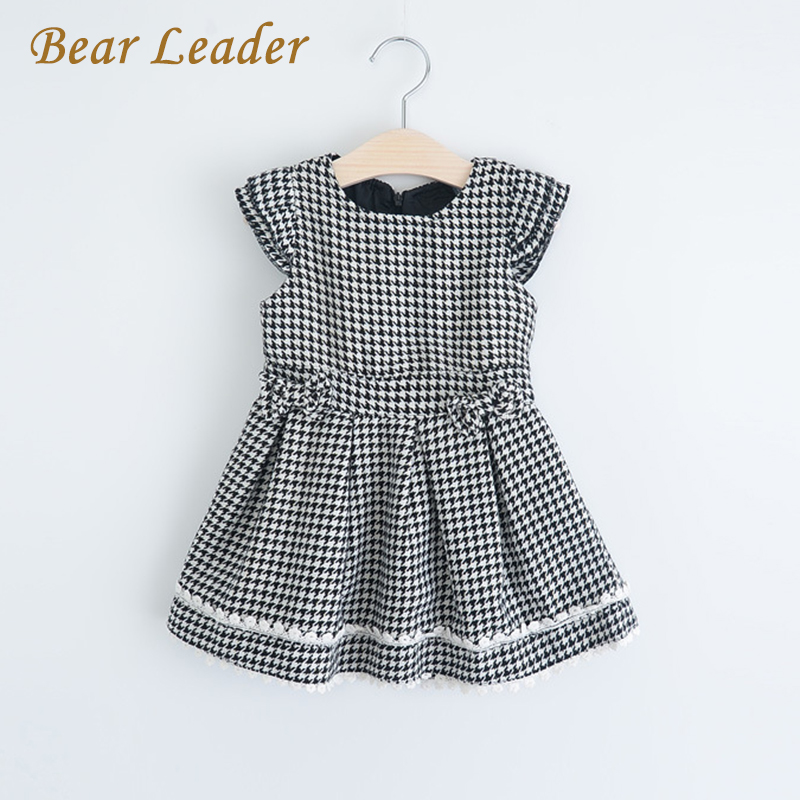 Bear Leader Girls Dress 2017 New Spring&Summer Style Baby Girls Clothes Sleeveless Plaid Casual Dress Children Clothes 3-7Y bear leader girls dress 2016 new summer style party dress stella the swallow embroidered sleeveless dress girls princess dress