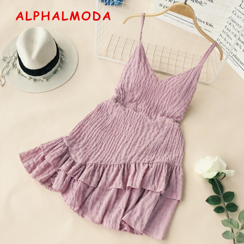 ALPHALMODA A-line Ruffled Sling Dress Women Holiday Sexy V-neck High Waist Asymmetrical Short Beach Vestidos Back Zipper