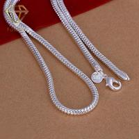 2015 New Fashion Men S Jewelry 4MM 20 24inches 925 Sterling Silver Snake Chain Necklace Factory