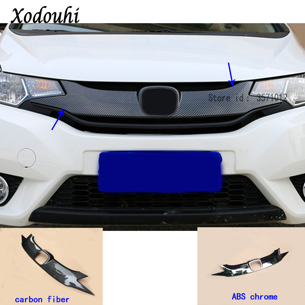 For Honda Fit jazz 2014 2015 2016 2017 car styling body ABS chrome License plate trim racing Grid Grill Grille hoods panel frame цена