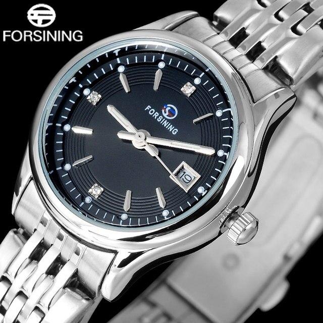 FORSINING марка мода женщины кварцевые часы дамы платье браслет часы из нержавеющей стали ремешок наручные часы авто дата relojes