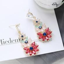 Ruifan High Quality 4 Color Europe Garden Flower Shape Colorful Women Earrings Beautiful Rhinestone Drop Earring Jewelry YEA334