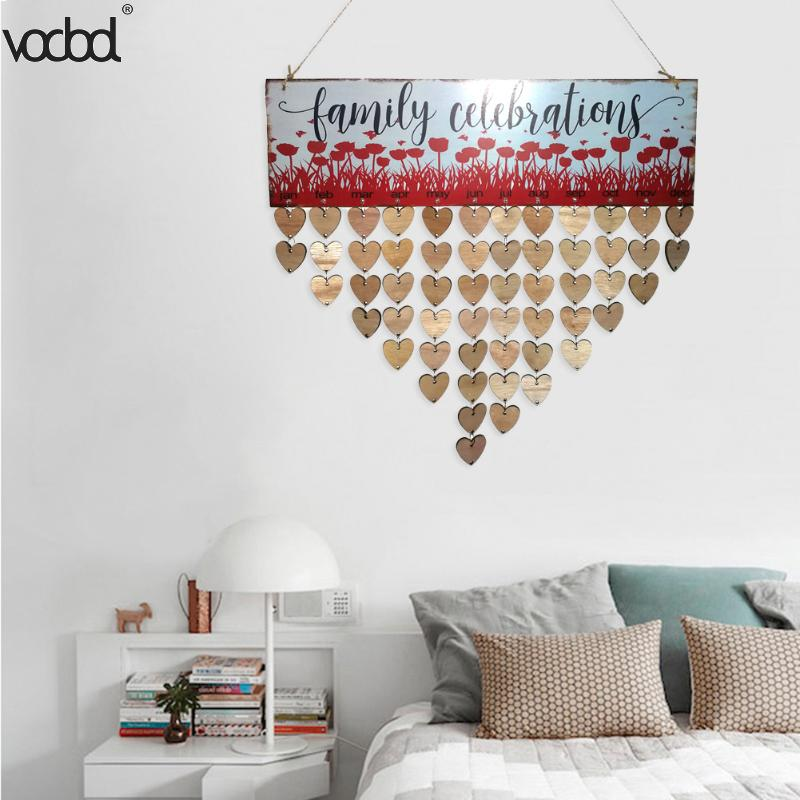 VODOOL DIY Wooden Birthday Calendar Family Celebrations Wall Calendar Write Special Dates Planner Board Hanging Decor Gifts diy wall hanging wooden family birthday calendar