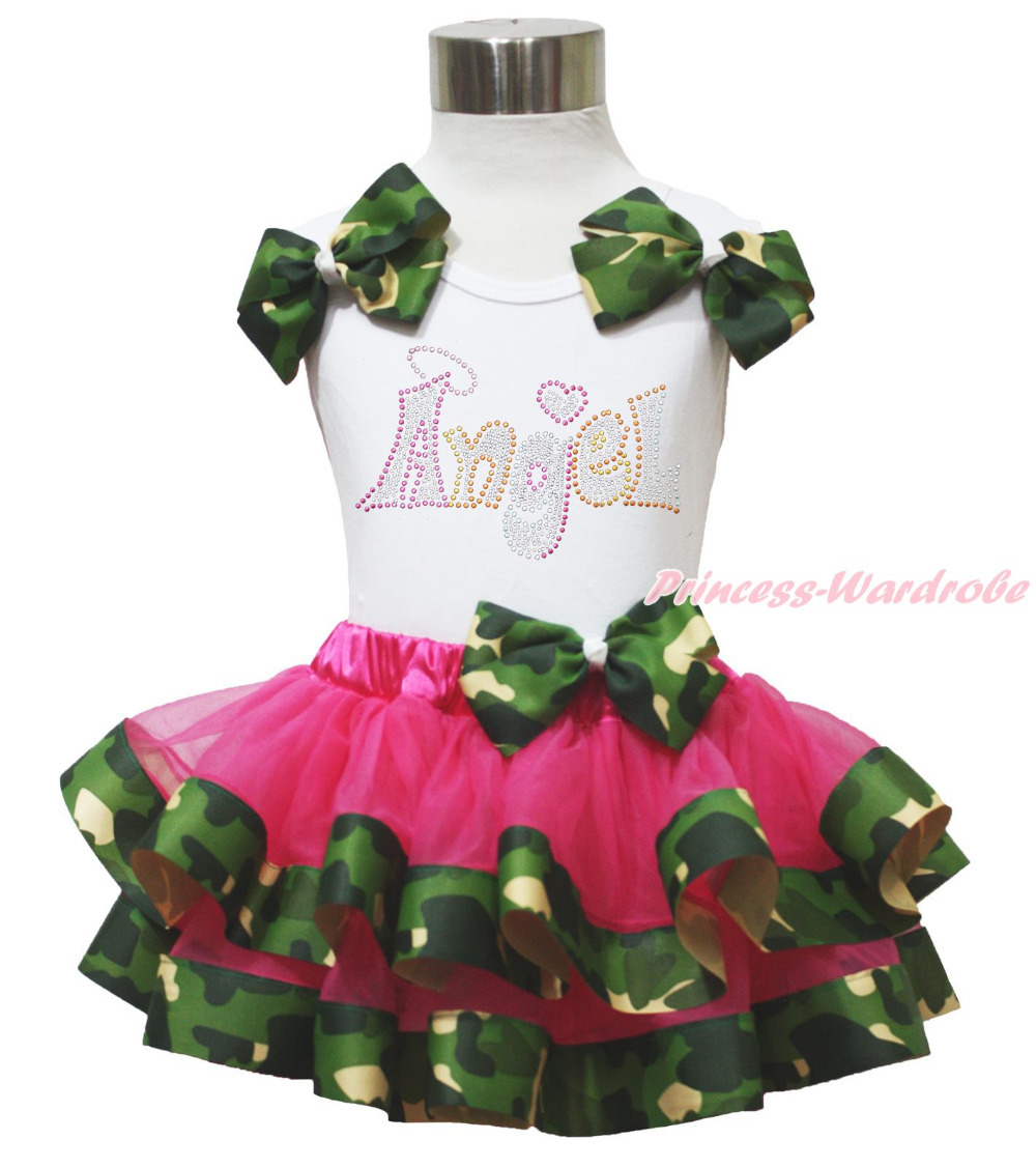 Rhinestone Angel White Top Shirt Camouflage Girl Satin Trim Skirt Outfit NB-8Y MAPSA0649 hot pink top shirt camouflage lacing satin trim girl pettiskirt outfit set nb 8y mapsa0642