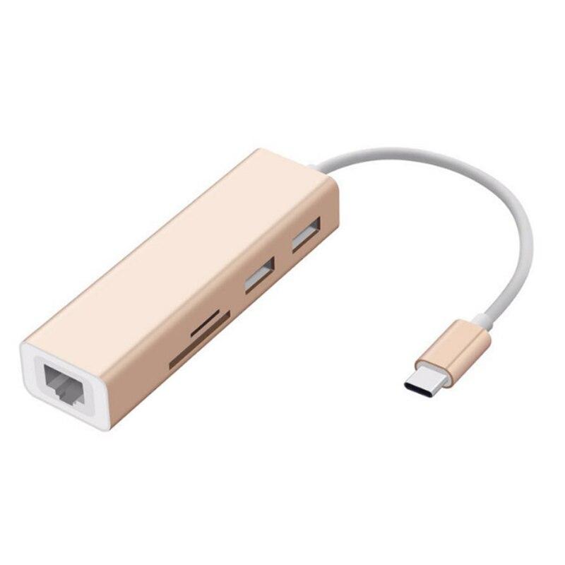 Type-C USB 3.0 HUB À RJ45 Gigabit Ethernet Filaire Carte Réseau LAN Adaptateur avec SD/TF Carte Lecteur Pour MacBook Pro Mobile Téléphones