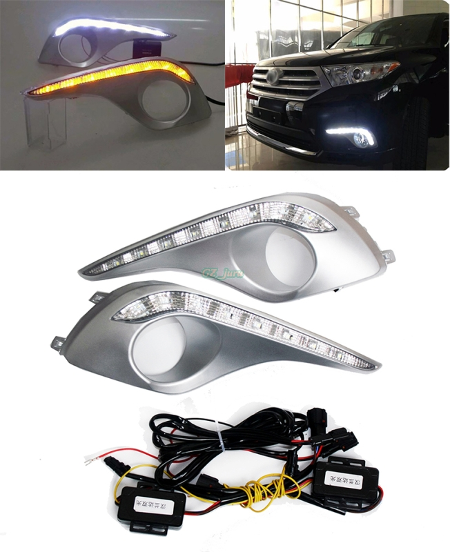 Daytime Running Light with amber turn signals light for Toyota Highlander 2012 -2014 fog lamp cover front bumper driving lights rear fog lamp running light turn signals brake light for toyota highlander 2015 bumper reflector