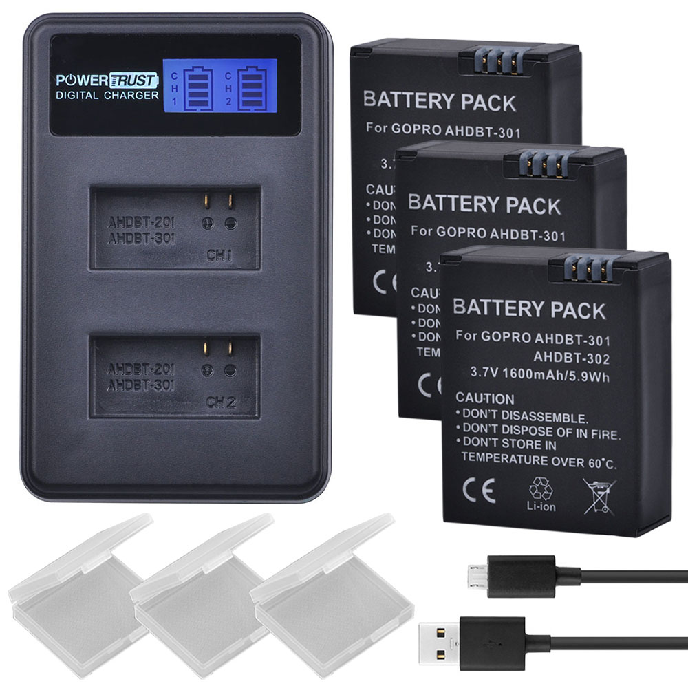3 Pcs 1600 mAh AHDBT-301 GoPro Hero3 AHDBT301 AHDBT 301 Li-ion Caméra Batterie + LCD USB Double Chargeur pour Gopro Hero 3/3 +