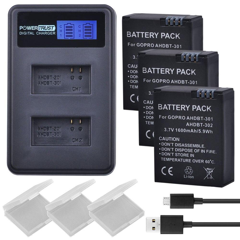 3Pcs 1600mAh AHDBT-301 GoPro Hero3 AHDBT301 AHDBT 301 Li-ion Camera Battery + LCD USB Dual Charger for Gopro Hero 3/3+