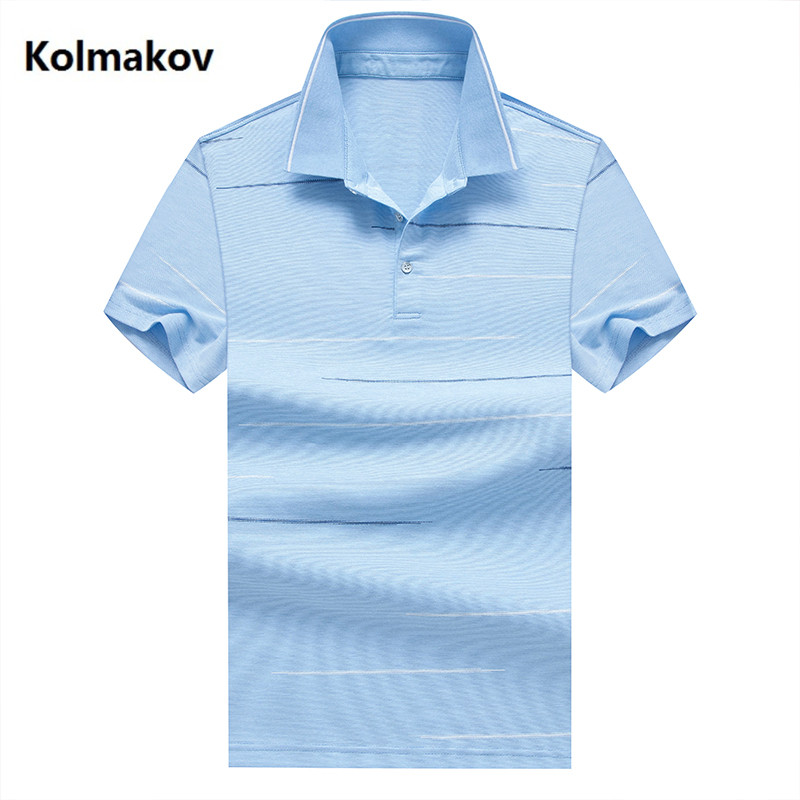 2019 summer   polo   shirt men high quality cotton casual men's   polos   , Business Short Sleeves stripe men's   polo   shirts size M-3XL