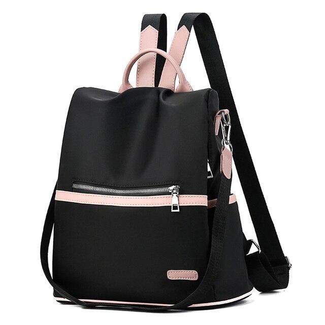 2019 المرأة بسيطة خفيفة الوزن مكافحة سرقة على ظهره أكسفورد القماش مقاوم للماء حقيبة كتف الإناث حقيبة ظهر لحمل جهاز الكمبيوتر المحمول
