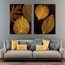 Nordic Golden Flowers Leaf Canvas Painting Poster Print HD Decor Wall Art Pictures For Living Room Bedroom Aisle Unique Plants