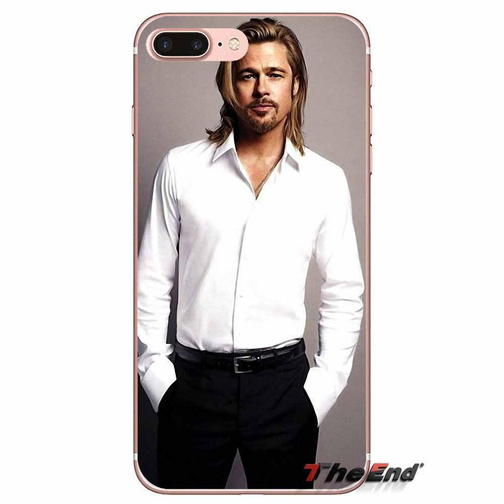 Voor iPhone X 4 4 S 5 5 S 5C SE 6 6 S 7 8 Plus Samsung Galaxy J1 J3 J5 J7 A3 A5 2016 2017 Brad Pitt Superstar Mannelijke Zachte TPU Case