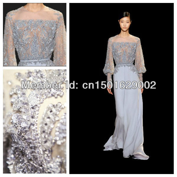 ph0814 custom made long sleeve lace applique beaded elie saab ...