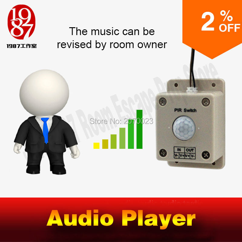 Audio sound player prop Takagism game real llive room escape play sound when detect human play