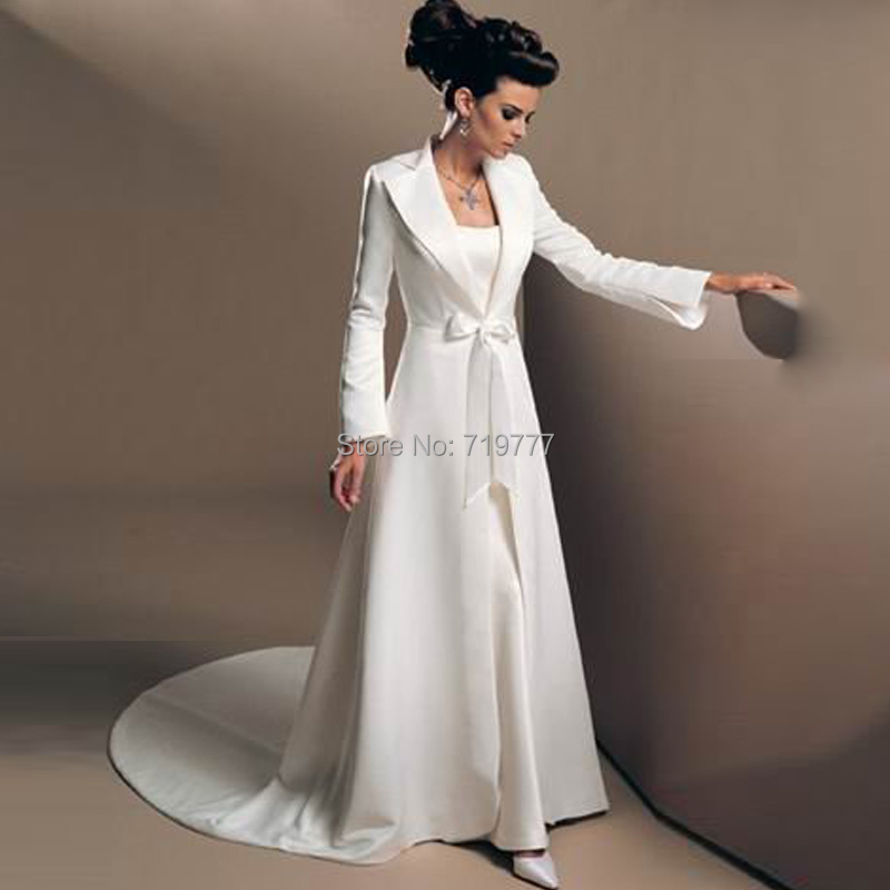 White elegant wedding coat 2017 custom made long sleeve for Long elegant dresses for weddings