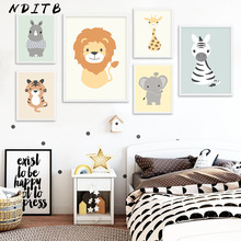 NDITB Woodland Animal Tiger Elephant Canvas Painting Cartoon Wall Art Posters Nursery Prints Nordic Kids Decoration Pictures