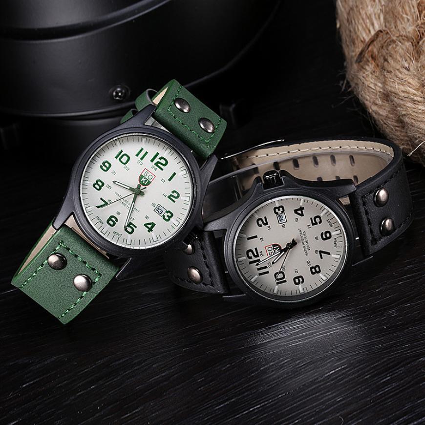 Мужские модные часы, винтажные классические мужские водонепроницаемые часы с кожаным ремешком, Спортивные кварцевые армейские часы, Прямая поставка 2018JUL10 Кварцевые часы      АлиЭкспресс