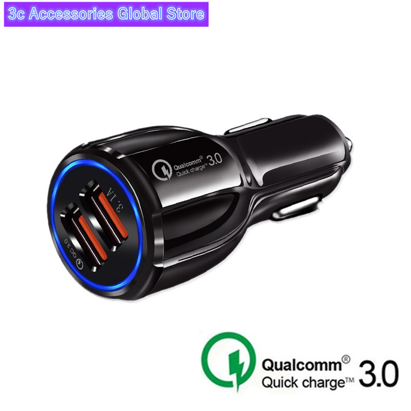 Crouch Quick Charge 39W 3.0 Charger QC 3.0 5V 9V 12V Dual USB 6A Car Charge Fast Charger Mobile Phone Travel Adapter Car-charge