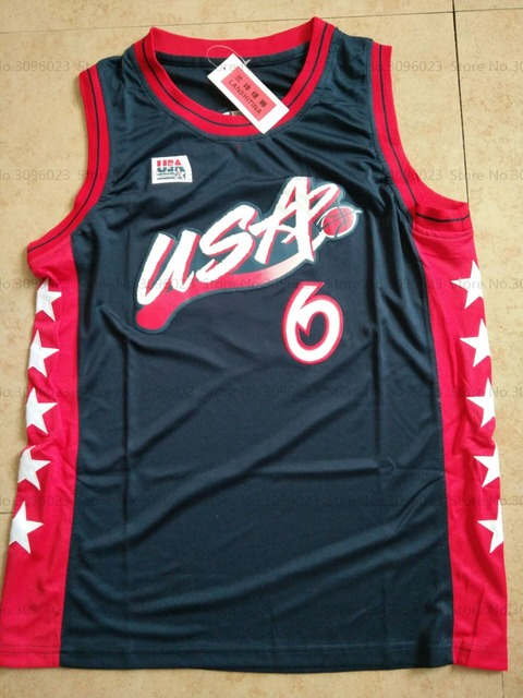 ac02293c7 Penny Anfernee Hardaway  6 USA White Dark Blue Retro Throwback Stitched Basketball  Jersey