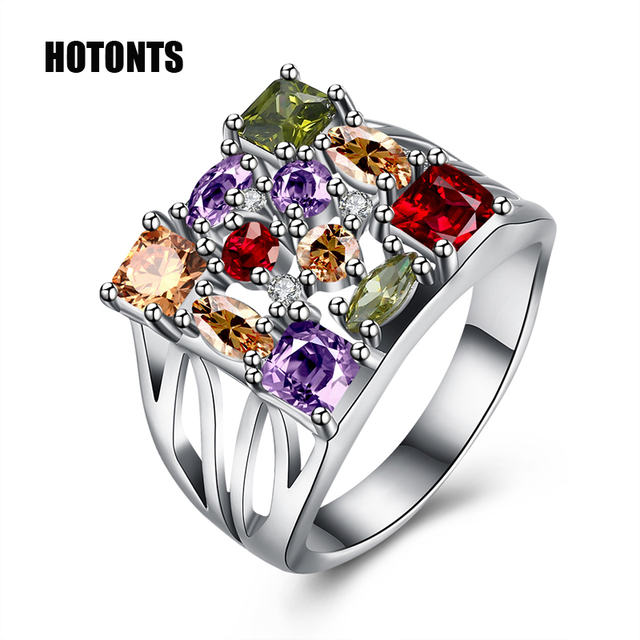 R977 15mm Wide Women\'s Square Multicolor Stones Wedding Rings White ...