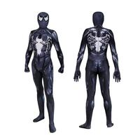high quality venom symbiote spiderman costume cosplay halloween zentai suit black spider man superhero costumes for Adult/Kids