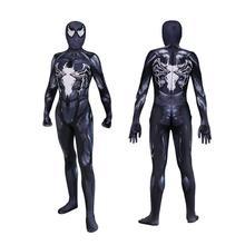купить high quality venom symbiote spiderman costume cosplay halloween zentai suit black spider-man superhero costumes for Adult/Kids дешево