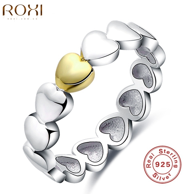 2017 ROXI Brand 925 Sterling Silver Ring Luxury Women Love Heart Gift Jewelry Fashion Women Wedding Bridal Party Finger Rings