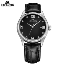 Liber Aedon Leather Strap Sport Mens Watch Top Brand Luxury Business Dress Quartz Military Wirst Watch Relogio Masculino Clock