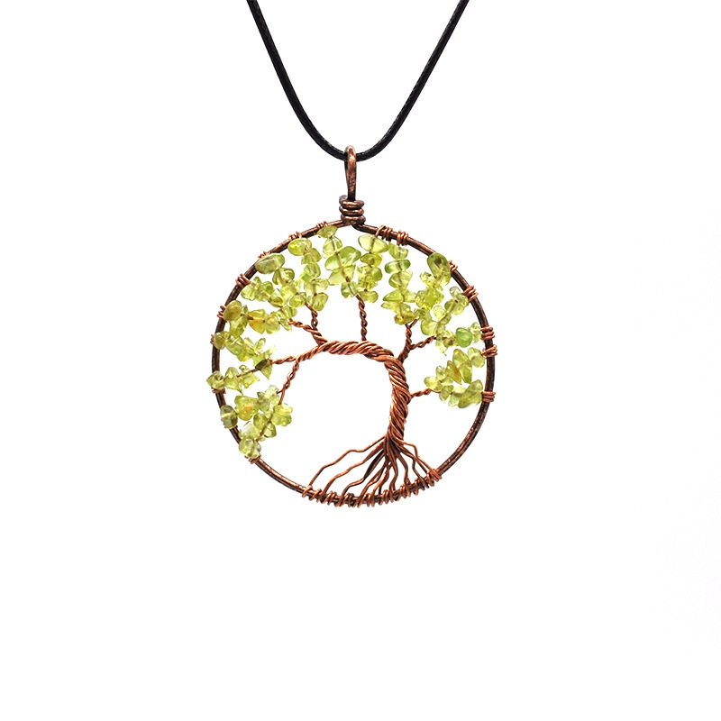 Wholesale 7 Chakra Tree Of Life Necklace Bronze Rope Chain Crystal Natural Stone Necklace Wisdom Men Women Lover Jewelry Gift