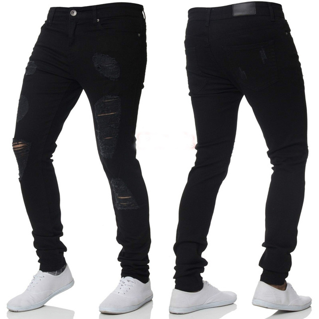ca569bb28 New Men's Skinny Ripped Jeans Brand Wash Cotton Slim Fit Pencil Jeans Homme  Fashion Holes Design