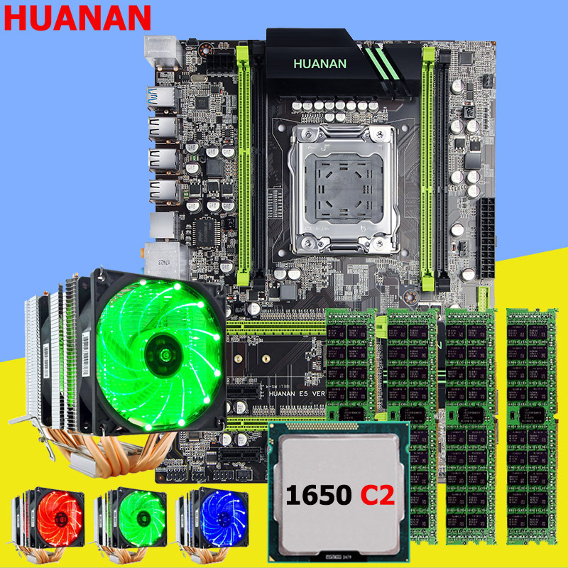 Carte mère avec M.2 slot HUANAN ZHI X79 carte mère avec CPU Xeon E5 1650 C2 3.2 ghz avec cooler RAM 32g (4*8g) DDR3 1600 RECC