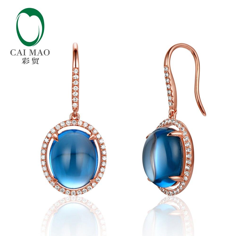 Caimao 14K Rose Gold Natural 10.50ct Cabochon Cut Blue Topaz Diamond Drop Earrings caimao exquisite jewelry natural cabochon cut emerald baguette cut diamond 14kt white gold drop earrings
