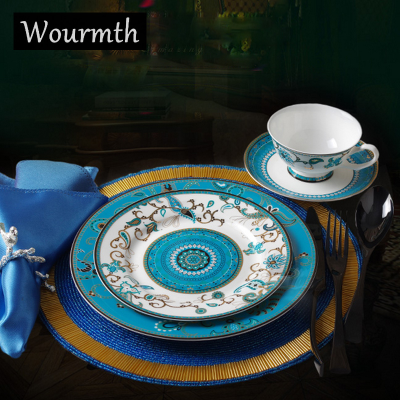 Wourmth Hotel Top Grade Bone China Tableware Western Style Steak Dishes Dessert Plate Hand Painted Gold Dinner Service