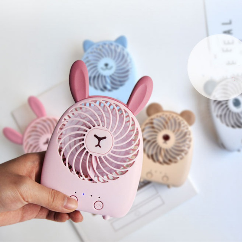 Portable Cartoon USB Rechargeable Personal Cooling Fan 3 Adjustable Speeds  For Home Office Travel Outdoor Hot