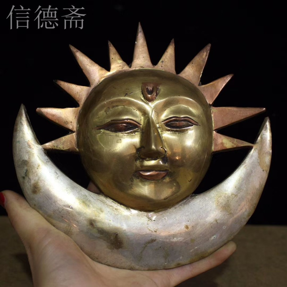 Antique old Tibet copper Sun god statue / sculpture,Hand carved crafts,best collection& adornment,Free Shipping