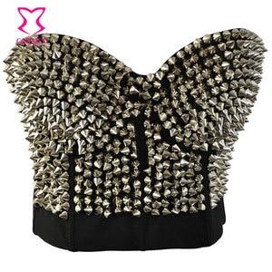 Image 1 - Punk Rave srebrny nabijany nit biustonosz kobiety seksowna bluzka push up biustonosz z kolcami Sujetador biustonosz seksowna bielizna Rock Clubwear