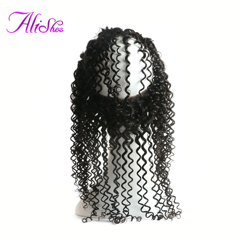 Alishes Pre Plucked 360 Lace Frontal Malaysian Curly Hair Closure With Baby Hair Natural Hairline Remy Human Hair Closure