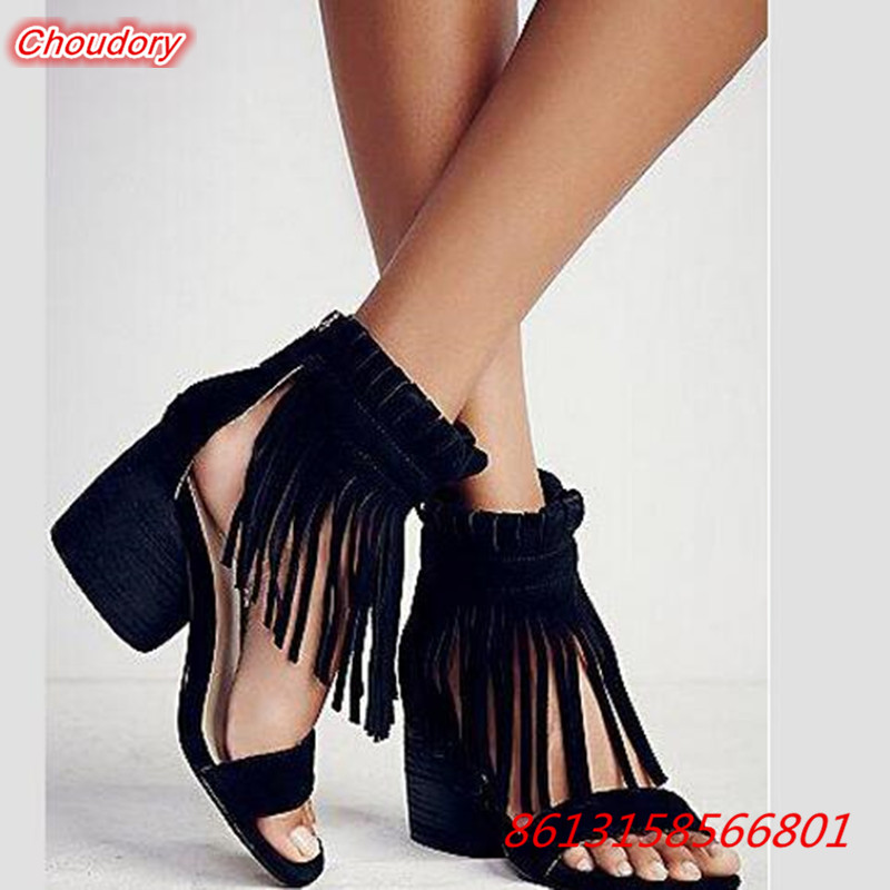 2017 Solid Fringe Square High Heels Rome font b Women b font Sandals Open Toe Gladiator