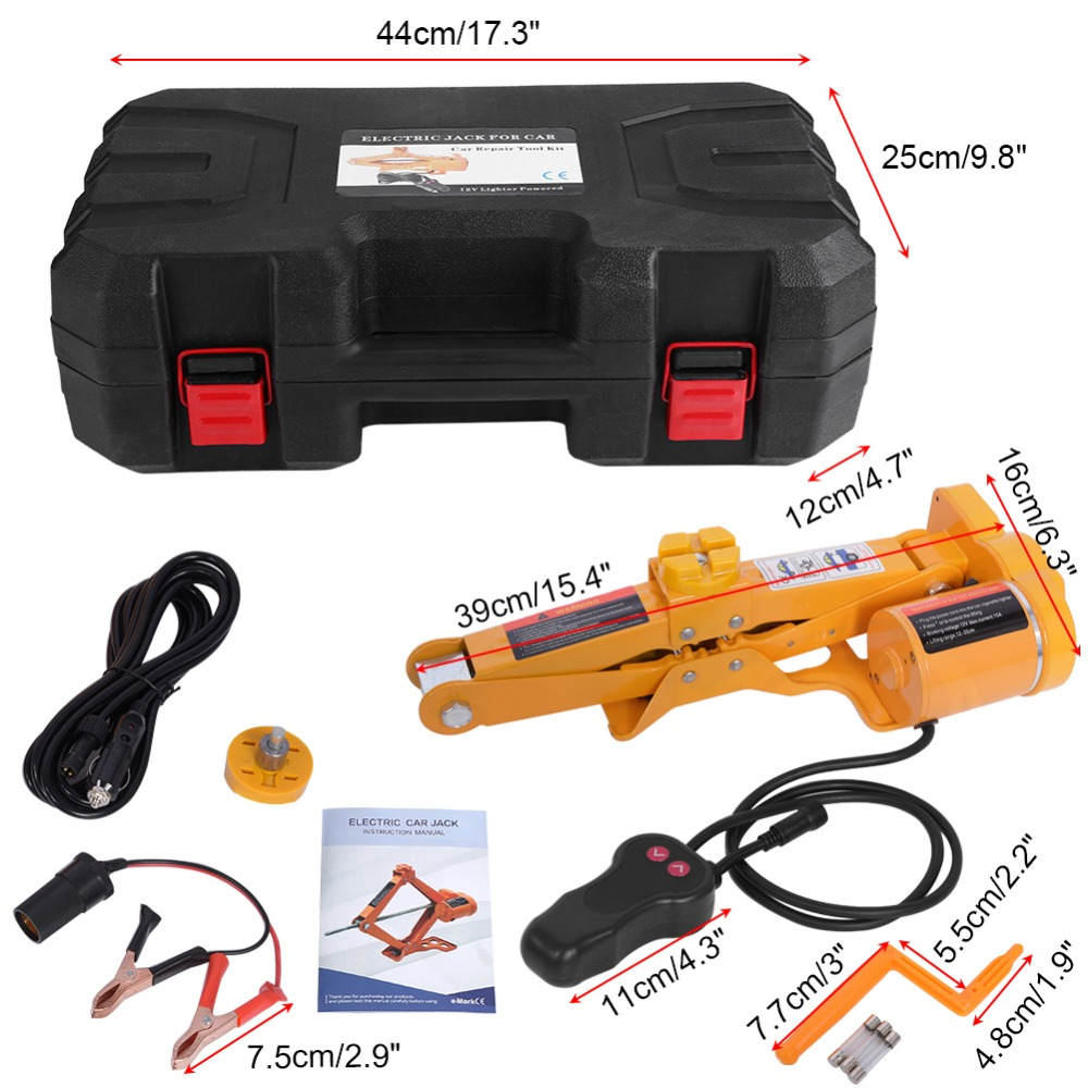 2 Ton 12v Dc Automotive Electric Jack Lifting Car Suv Emergency Tools W Impact Wrench With Gloves Socket Adapter Driver Kit In
