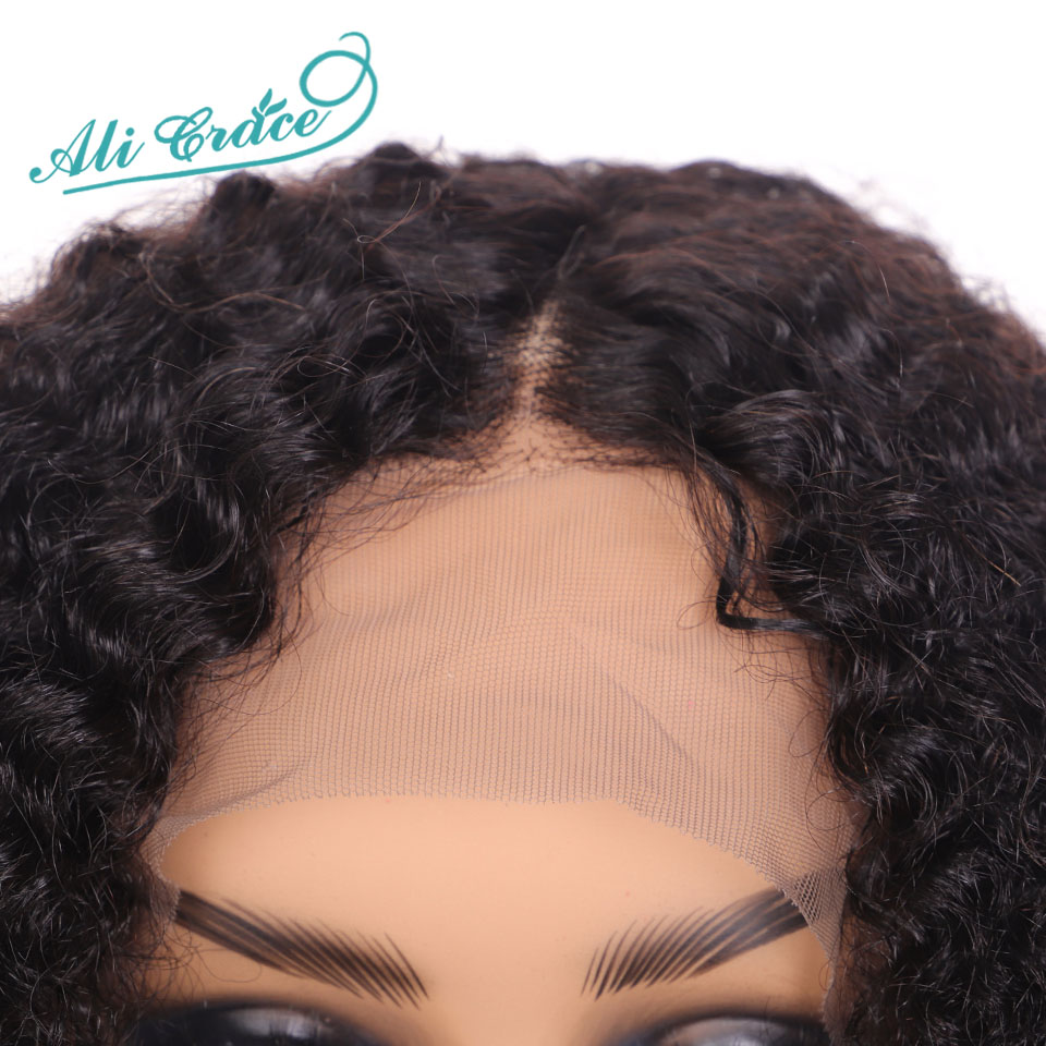 Ali Grace Curly Lace Front Wigs With Baby Hair Remy Short Curly Bob Wigs 13*4 Brazilian Afro Kinky Curly Human Hair Lace Wig