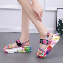 2019 Fashion Summer Platform Women Sandals Flat Thick Bottom Silver Pink Beach Sandals Size 35 - 40 цена